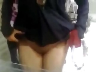 Muslim Hijab Woman show Hairy Pussy Public Flash Indian Desi Wife